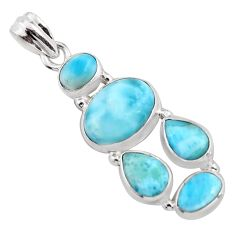 14.20cts natural blue larimar 925 sterling silver pendant jewelry p96154
