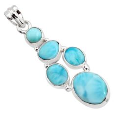 13.84cts natural blue larimar 925 sterling silver pendant jewelry p96157