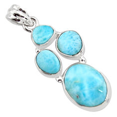 15.74cts natural blue larimar 925 sterling silver pendant jewelry p96162