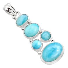 14.20cts natural blue larimar 925 sterling silver pendant jewelry p96163
