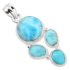 925 sterling silver 15.76cts natural blue larimar pendant jewelry p96164