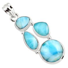 14.84cts natural blue larimar 925 sterling silver pendant jewelry p96165
