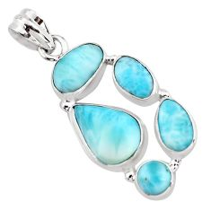 925 sterling silver 14.50cts natural blue larimar pendant jewelry p96167