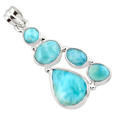 17.38cts natural blue larimar 925 sterling silver pendant jewelry p96170