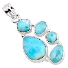 925 sterling silver 16.93cts natural blue larimar pendant jewelry p96171