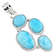 11.93cts natural blue larimar 925 sterling silver pendant jewelry p96172