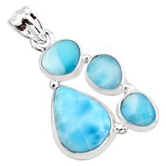 15.64cts natural blue larimar 925 sterling silver pendant jewelry p96177