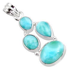 925 sterling silver 12.64cts natural blue larimar pendant jewelry p96179