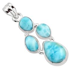 11.68cts natural blue larimar 925 sterling silver pendant jewelry p96183