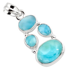 925 sterling silver 11.00cts natural blue larimar pendant jewelry p96184