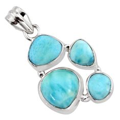 11.95cts natural blue larimar 925 sterling silver pendant jewelry p96185