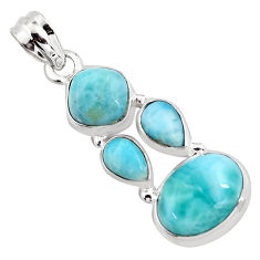 11.93cts natural blue larimar 925 sterling silver pendant jewelry p96189