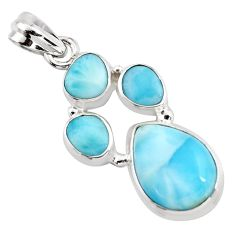 925 sterling silver 13.34cts natural blue larimar pendant jewelry p96191