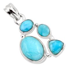 9.39cts natural blue larimar 925 sterling silver pendant jewelry p96192