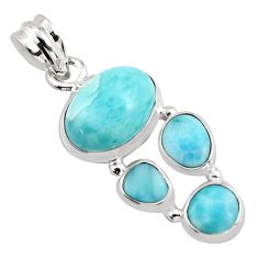 10.35cts natural blue larimar 925 sterling silver pendant jewelry p96196
