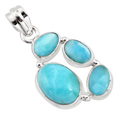 925 sterling silver 11.37cts natural blue larimar pendant jewelry p96199