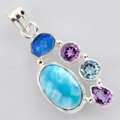 925 silver 14.12cts natural blue larimar doublet opal australian pendant p96204