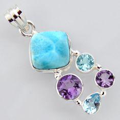 15.27cts natural blue larimar amethyst topaz 925 sterling silver pendant p96205