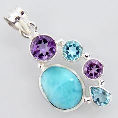 13.34cts natural blue larimar amethyst topaz 925 sterling silver pendant p96211