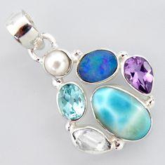 925 silver 12.31cts natural blue larimar doublet opal australian pendant p96220