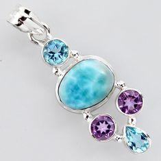 11.71cts natural blue larimar amethyst topaz 925 sterling silver pendant p96222