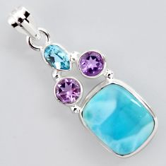 12.71cts natural blue larimar amethyst topaz 925 sterling silver pendant p96232