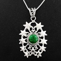 925 sterling silver 3.33cts natural green emerald round 18' chain pendant p96366