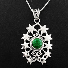 3.35cts natural green emerald 925 sterling silver 18' chain pendant p96367