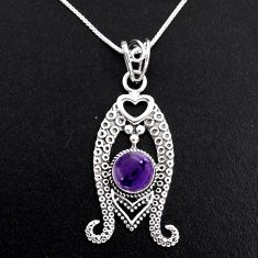 3.44cts natural purple amethyst 925 sterling silver 18' chain pendant p96383