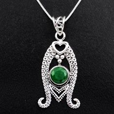 925 sterling silver 3.44cts natural green emerald round 18' chain pendant p96384
