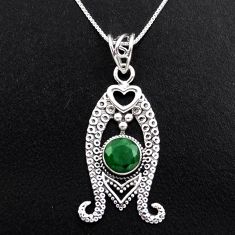 925 sterling silver 3.35cts natural green emerald 18' chain pendant p96387