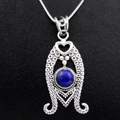 3.33cts natural blue lapis lazuli 925 sterling silver 18' chain pendant p96389