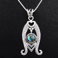 3.35cts natural blue labradorite 925 sterling silver 18' chain pendant p96393