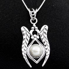 3.24cts natural white pearl 925 sterling silver 18' chain pendant jewelry p96401