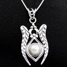 3.44cts natural white pearl 925 sterling silver 18' chain pendant jewelry p96402