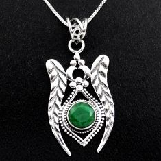 3.35cts natural green emerald 925 sterling silver 18' chain pendant p96407