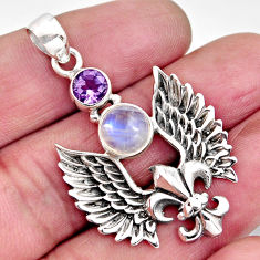 4.57cts natural rainbow moonstone amethyst 925 silver feather pendant p96502