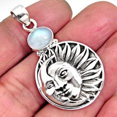 3.08cts natural rainbow moonstone 925 silver crescent moon star pendant p96508