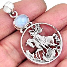 3.29cts natural rainbow moonstone 925 sterling silver horse pendant p96557