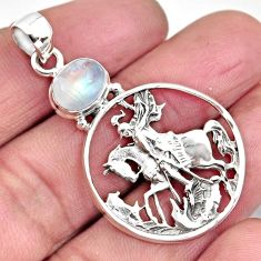 3.41cts natural rainbow moonstone 925 sterling silver horse pendant p96558