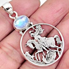 3.39cts natural rainbow moonstone 925 sterling silver horse pendant p96559