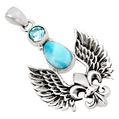4.01cts natural blue larimar topaz 925 sterling silver feather pendant p96581