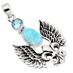 3.94cts natural blue larimar topaz 925 sterling silver feather pendant p96583