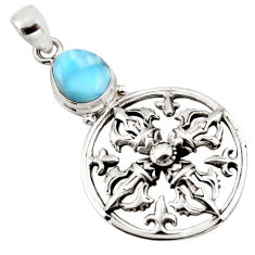 3.24cts natural blue larimar 925 sterling silver pendant jewelry p96591