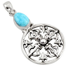 3.56cts natural blue larimar 925 sterling silver pendant jewelry p96595