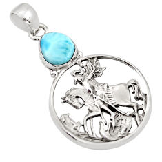 2.94cts natural blue larimar 925 sterling silver unicorn pendant jewelry p96607