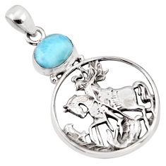 2.85cts natural blue larimar 925 sterling silver unicorn pendant jewelry p96610
