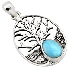 925 sterling silver 2.63cts natural blue larimar tree of life pendant p96612