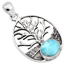 3.12cts natural blue larimar 925 sterling silver tree of life pendant p96615