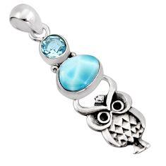 4.03cts natural blue larimar topaz 925 sterling silver owl pendant p96630